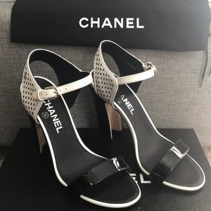 CHANEL Patent Leather High Heel Sandals